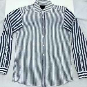 Diesel Black Gold Blue Striped Shirt, 48 or M